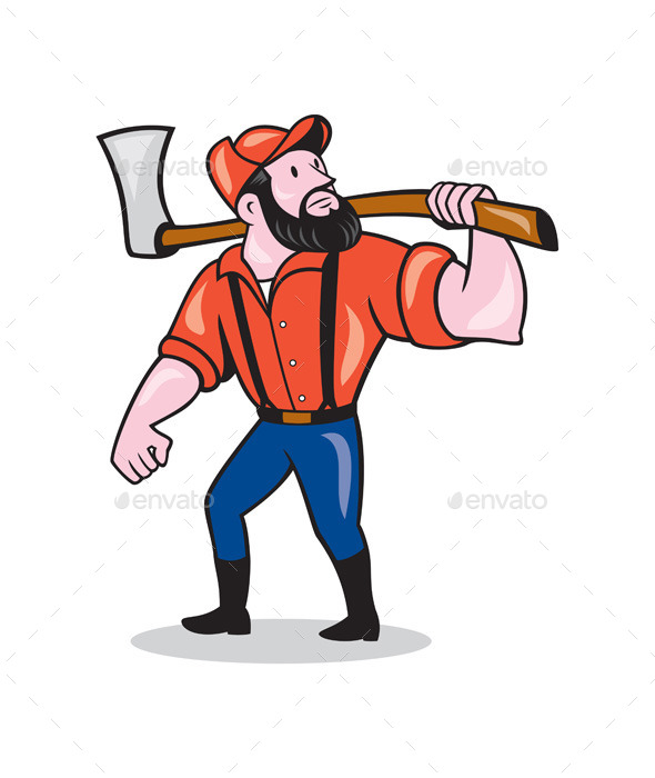 590x700 Lumberjack Holding Axe Cartoon By Patrimonio Graphicriver