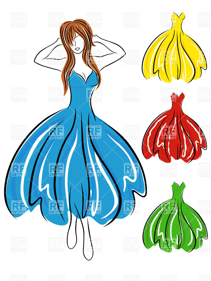 675x900 Sketch Of Girl In Blue Dress And Set Of Coloured Dresses Royalty