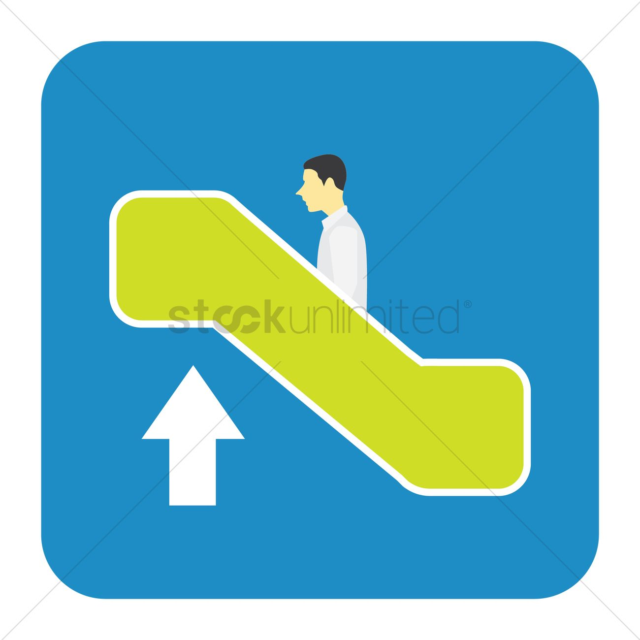 1300x1300 Man Going Up On Escalator Vector Image