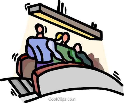 480x400 Going Down The Escalator Royalty Free Vector Clip Art Illustration