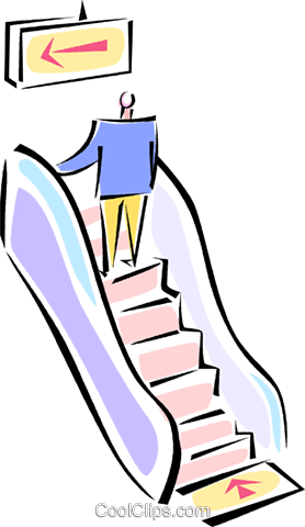 278x480 Man Going Up An Escalator Royalty Free Vector Clip Art