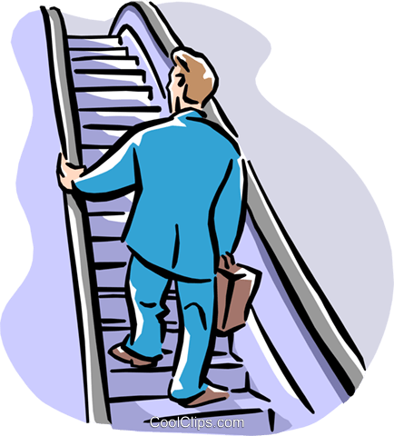 434x480 Man Going Up Escalator Royalty Free Vector Clip Art Illustration