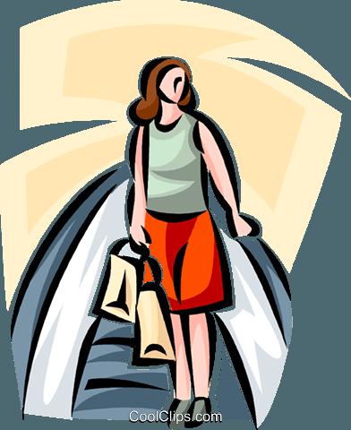 392x480 Woman Riding An Escalator While Shopping Royalty Free Vector Clip