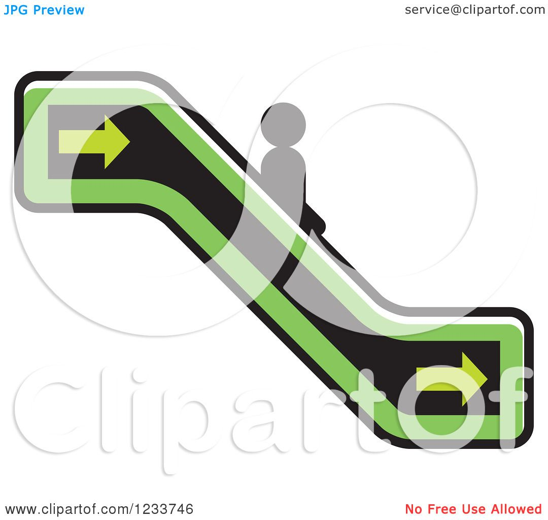 1080x1024 Clipart Of A Person Going Down A Green Escalator