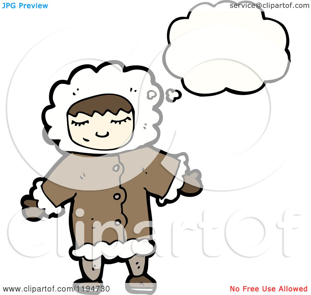 1080x1024 Cartoon Of An Eskimo Girl Thinking