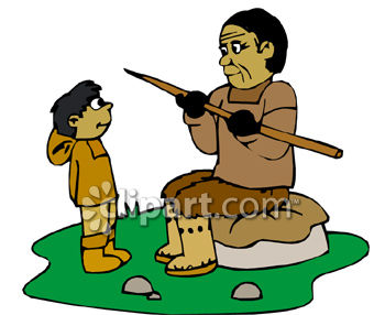 350x286 Eskimo Dad Teaching His Son To Hunt Clip Art