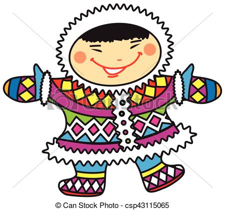 450x420 Happy Smiling Cartoon Eskimo Boy In Colorful National Clip Art