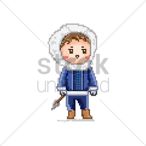 600x600 Pixel Art Eskimo Vector Image