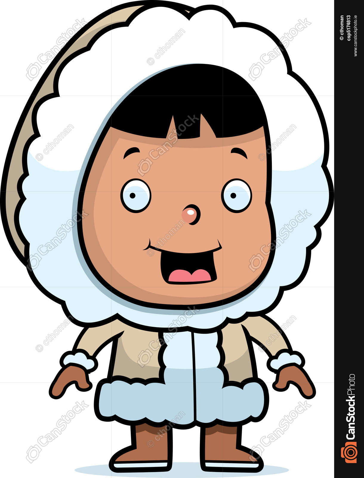 1220x1600 A Happy Cartoon Eskimo Child Standing And Smiling. Vectors