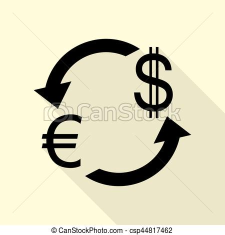 450x470 Currency Exchange Sign. Euro And Us Dollar. Black Icon