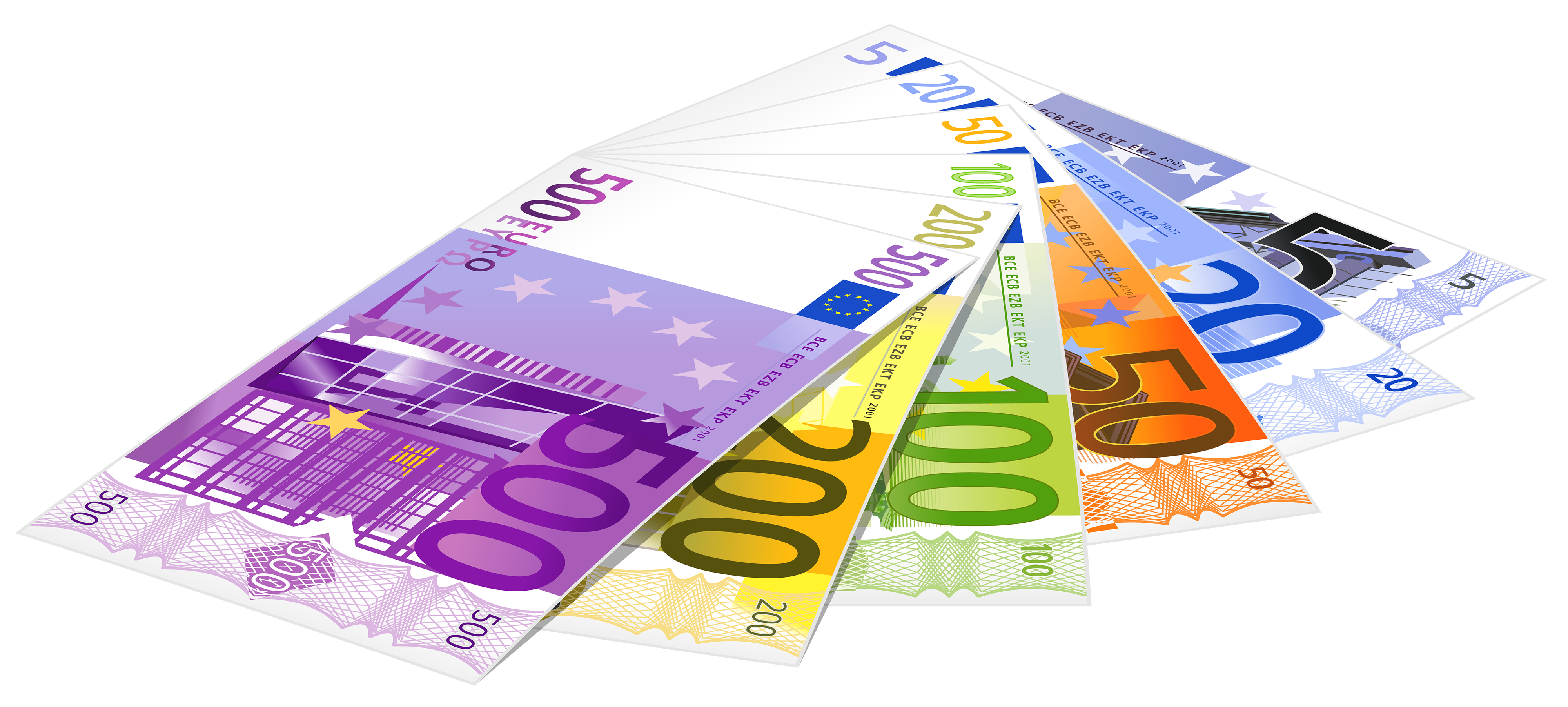 4000x1803 Euro Banknotes Png Clipart