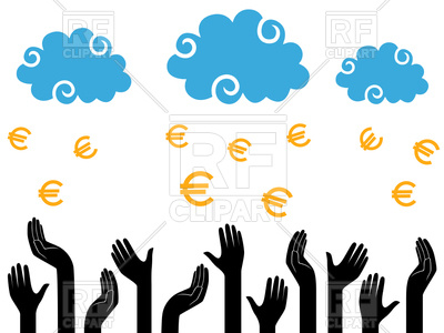 400x300 Euro Money Falling From Clouds In Human Hands Royalty Free Vector