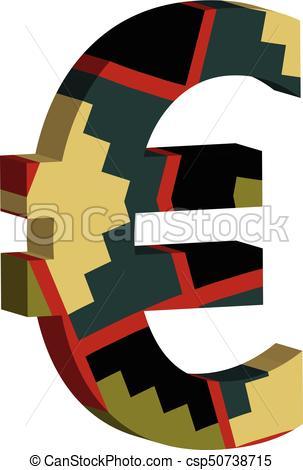 303x470 3d Euro Symbol. Colorful Three Dimensional Euro Symbol Vector Clip