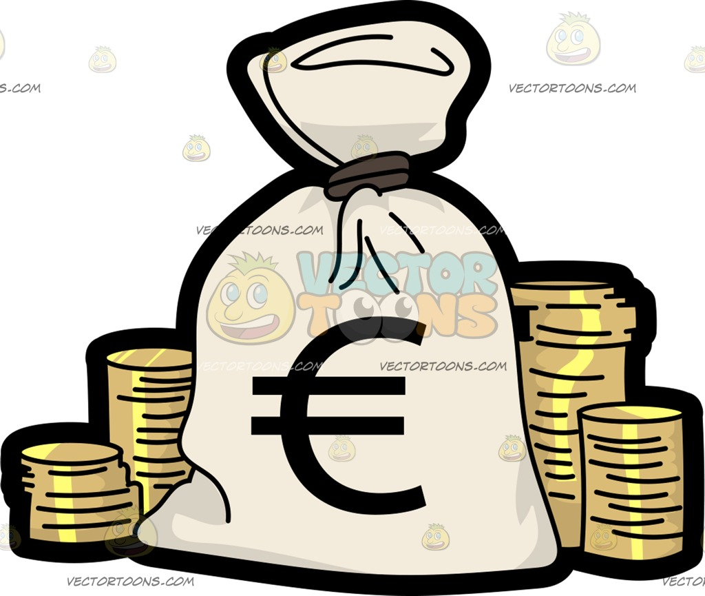 1024x865 A Bag Of Euros Surrounded With Gold Coins Cartoon Clipart Vector