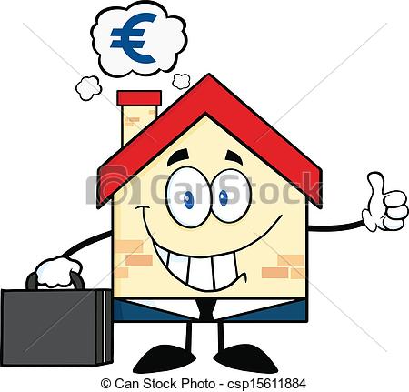 450x431 House With Smoke Cloud And Euro Smiling House Businessman