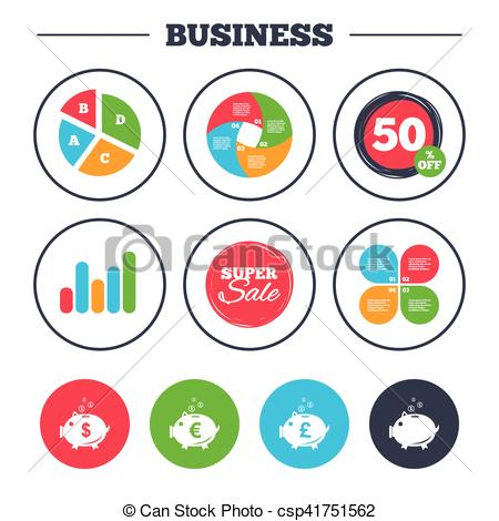 450x470 Piggy Bank Icons. Dollar, Euro, Pound Moneybox. Business Pie