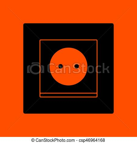 450x470 Europe Electrical Socket Icon. Orange Background With Black