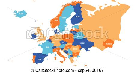 450x244 Political Map Of Europe Continent In Four Colors With White