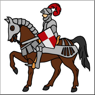 304x304 Clip Art Medieval History Mounted Knight Color 2 I