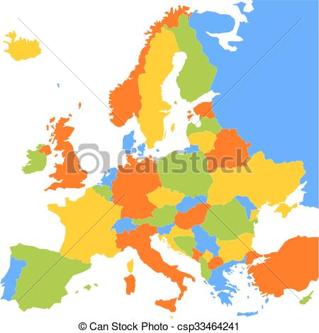 450x470 Colorful Blank Map Of Europe. Map Of Europe With Sovereign