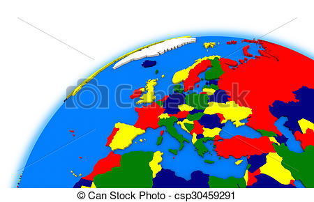 450x290 Europe On Globe Political Map. Europe On Globe, Political Stock