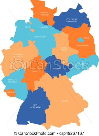 342x470 Map Of Germany Devided To 13 Federal States And 3 Clip Art