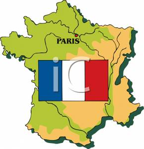 290x300 The French Flag On A Map Of France Clip Art Image