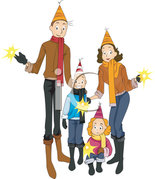 304x350 Royalty Free Clipart Image Of A Family Celebrating New Year's Eve