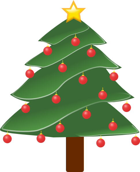 486x596 Lightly Decorated Evergreen Clip Art Free Vector 4vector