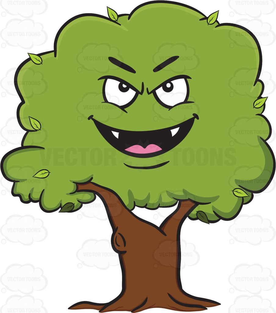 904x1024 Evil Looking Healthy Leafy Tree Emoji Cartoon Clipart Vector Toons
