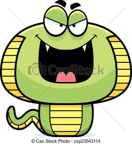 433x470 Evil Cartoon Cobra. A Cartoon Illustration Of An Evil Vector