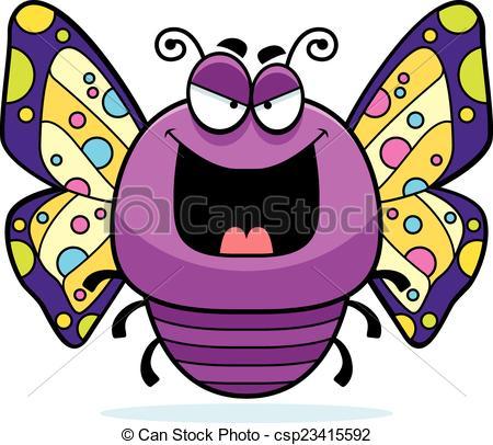 450x406 Evil Little Butterfly. A Cartoon Illustration Of An Evil Eps