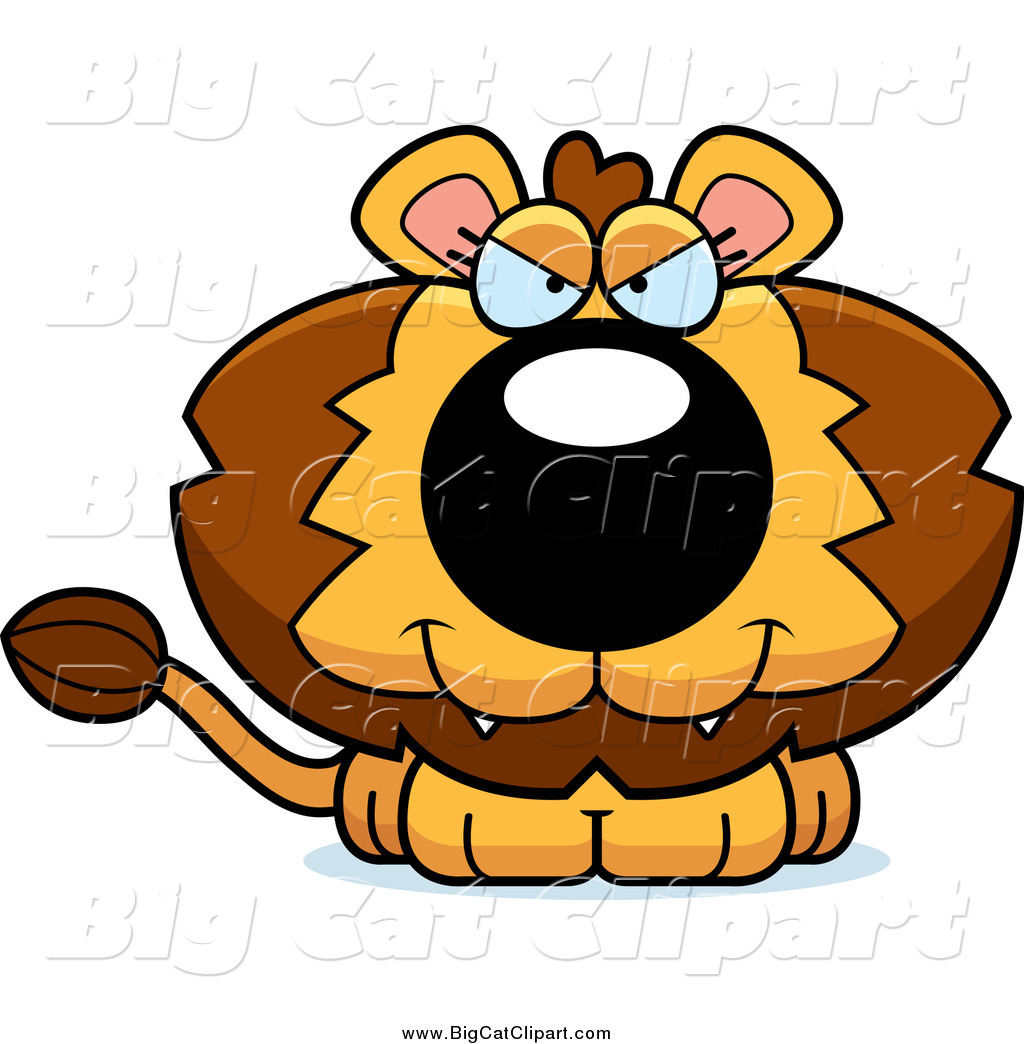 1024x1044 Big Cat Cartoon Vector Clipart Of A Sitting Evil Lion By Cory