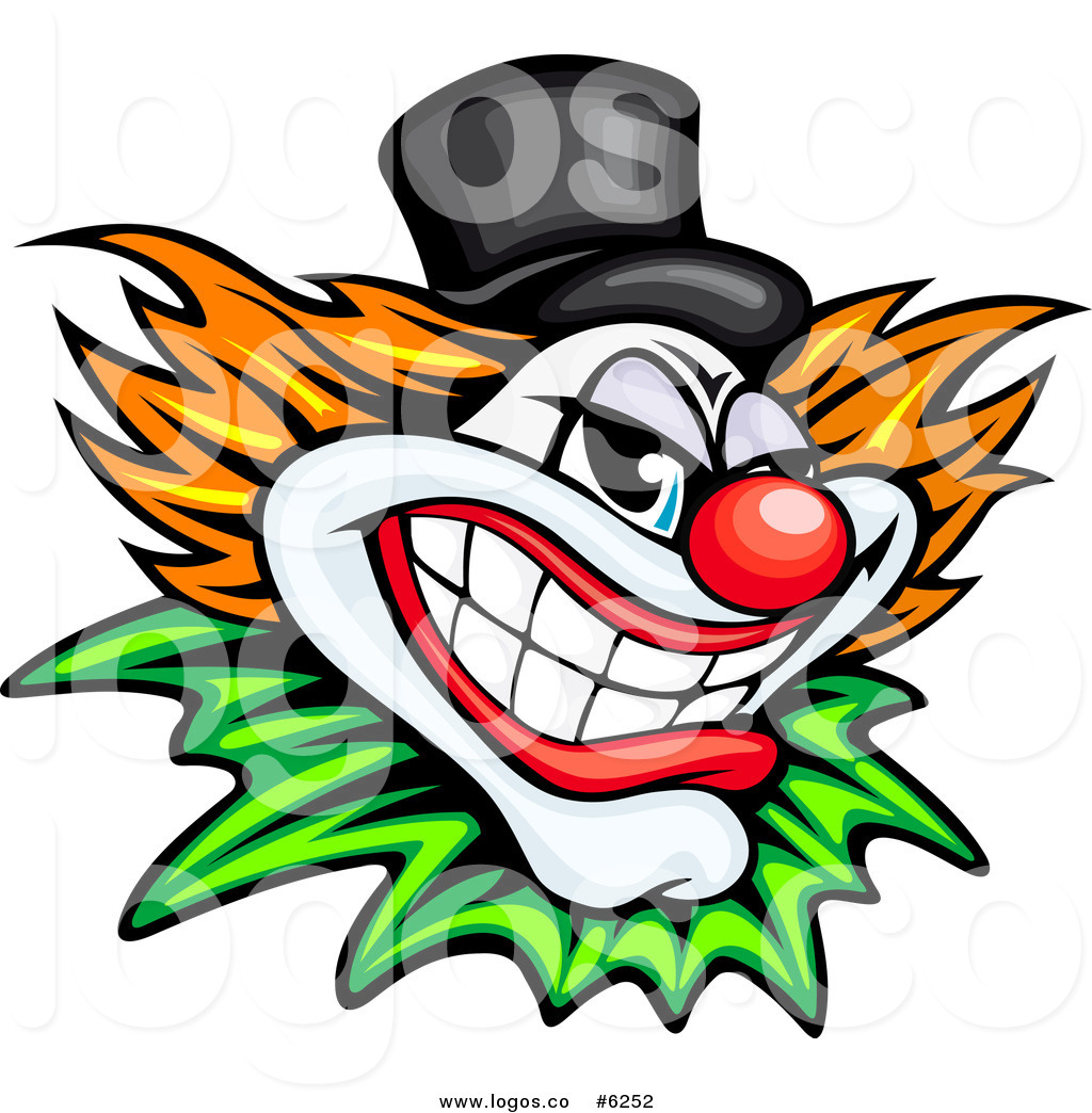 1024x1044 Royalty Free Clip Art Vector Logo Of A Grinning Evil Clown By