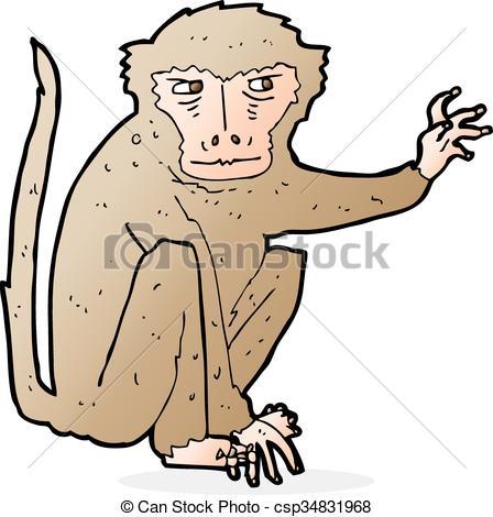448x470 Cartoon Evil Monkey Clip Art Vector
