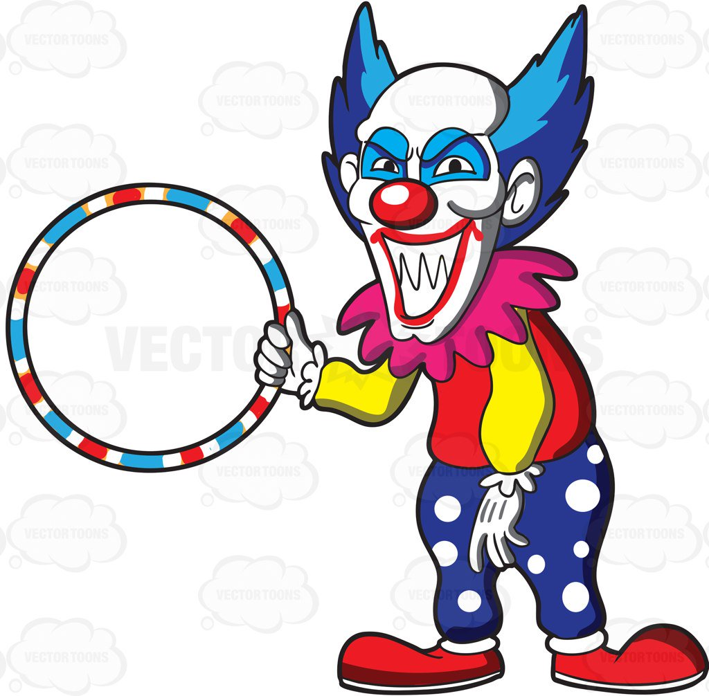 1024x1006 A Scary Looking Clown Holding A Hula Hoop Cartoon Clipart Vector