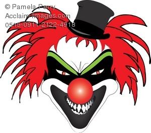 300x263 Clip Art Illustration Of An Evil Clown Face