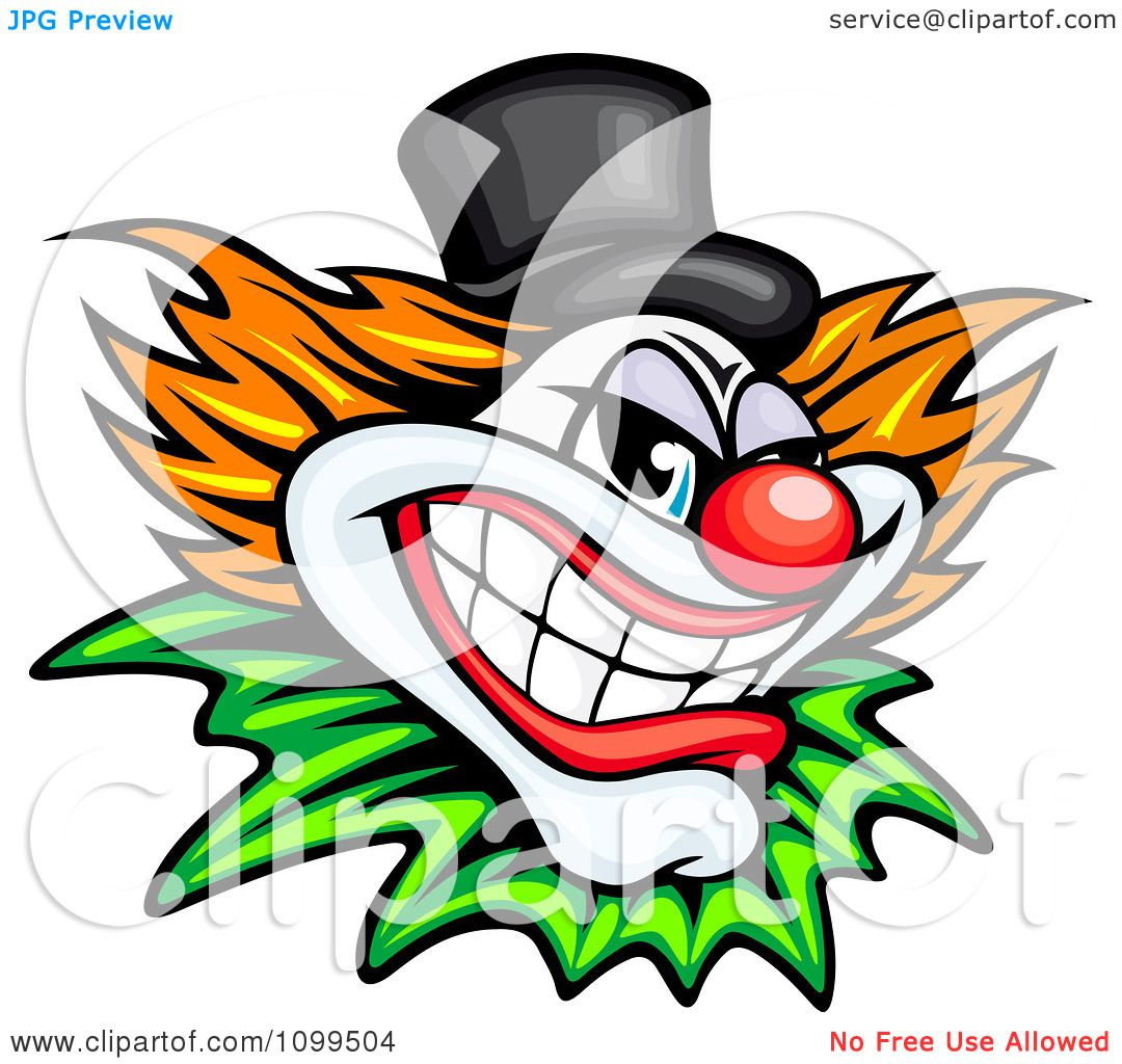 1080x1024 Clipart Grinning Evil Clown Or Joker With A Top Hat
