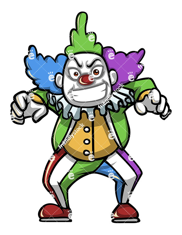 585x755 Evil Creepy Clown Character Scaring Someone Vector Clipart