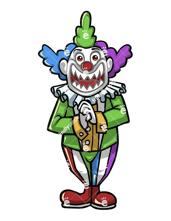 585x755 Evil Joker Clown With Scary Teeth And Sinister Look Vector Clipart