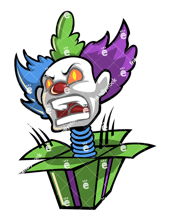 585x755 Scary Clown Head Jumping Out On A Spring From A Surprise Box