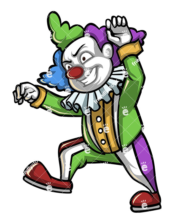 585x755 Scary Clown Walking Like A Zombie Stock Vector Clipart