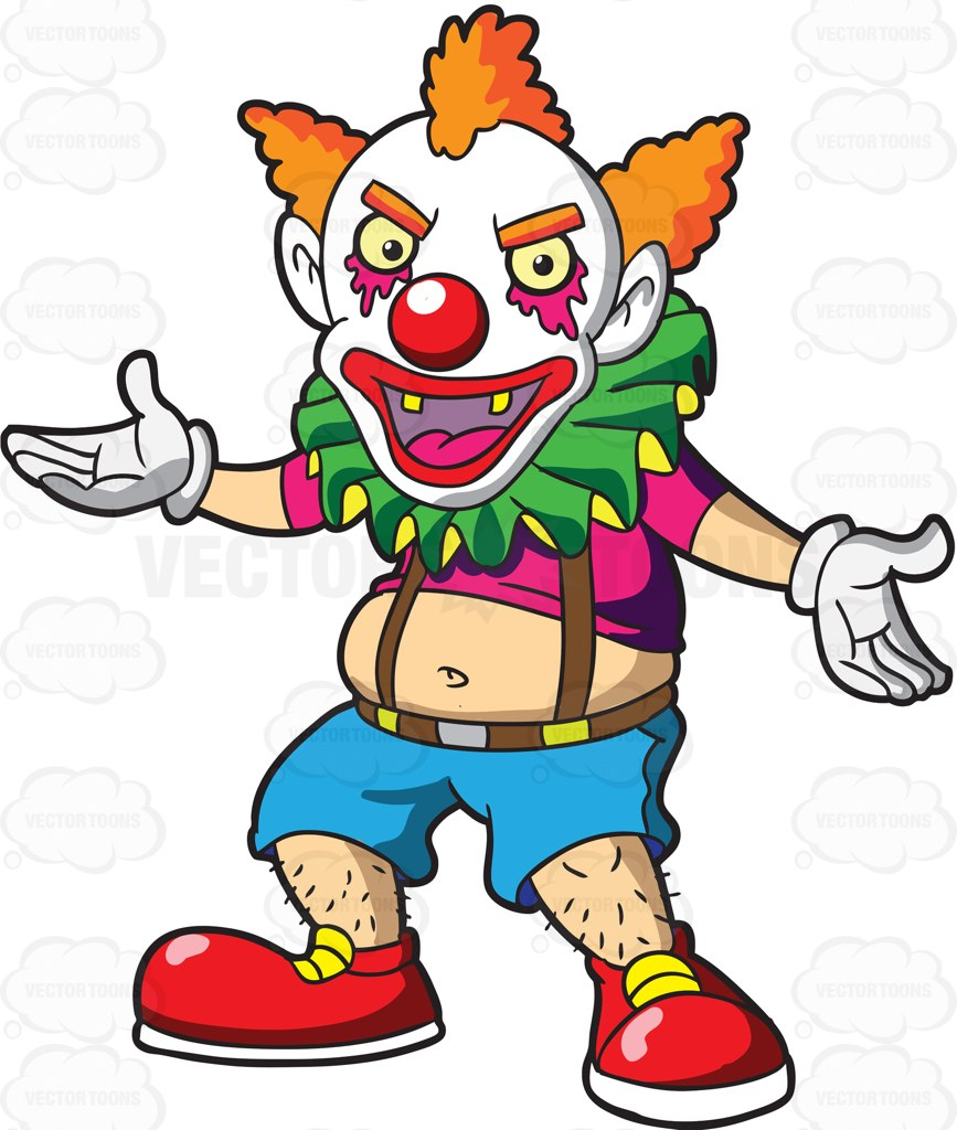 867x1024 A Creepy Clown With Mohawk Hair Welcoming His Guests Cartoon