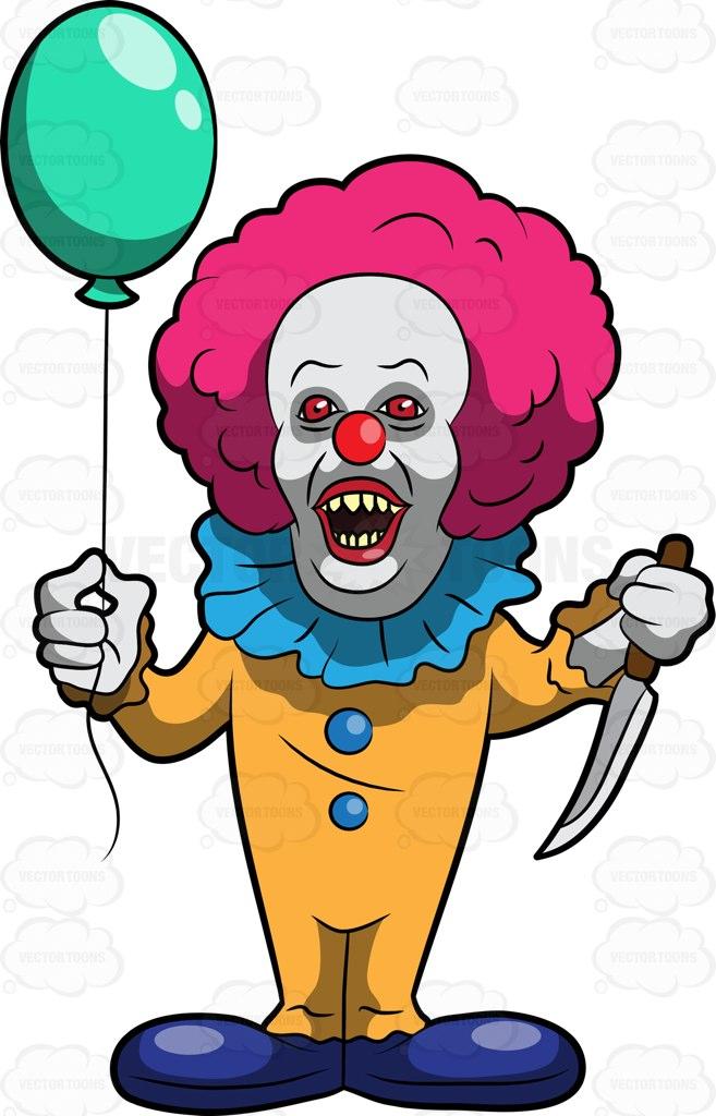 657x1024 A Scary Clown Killer Cartoon Clipart Vector Toons