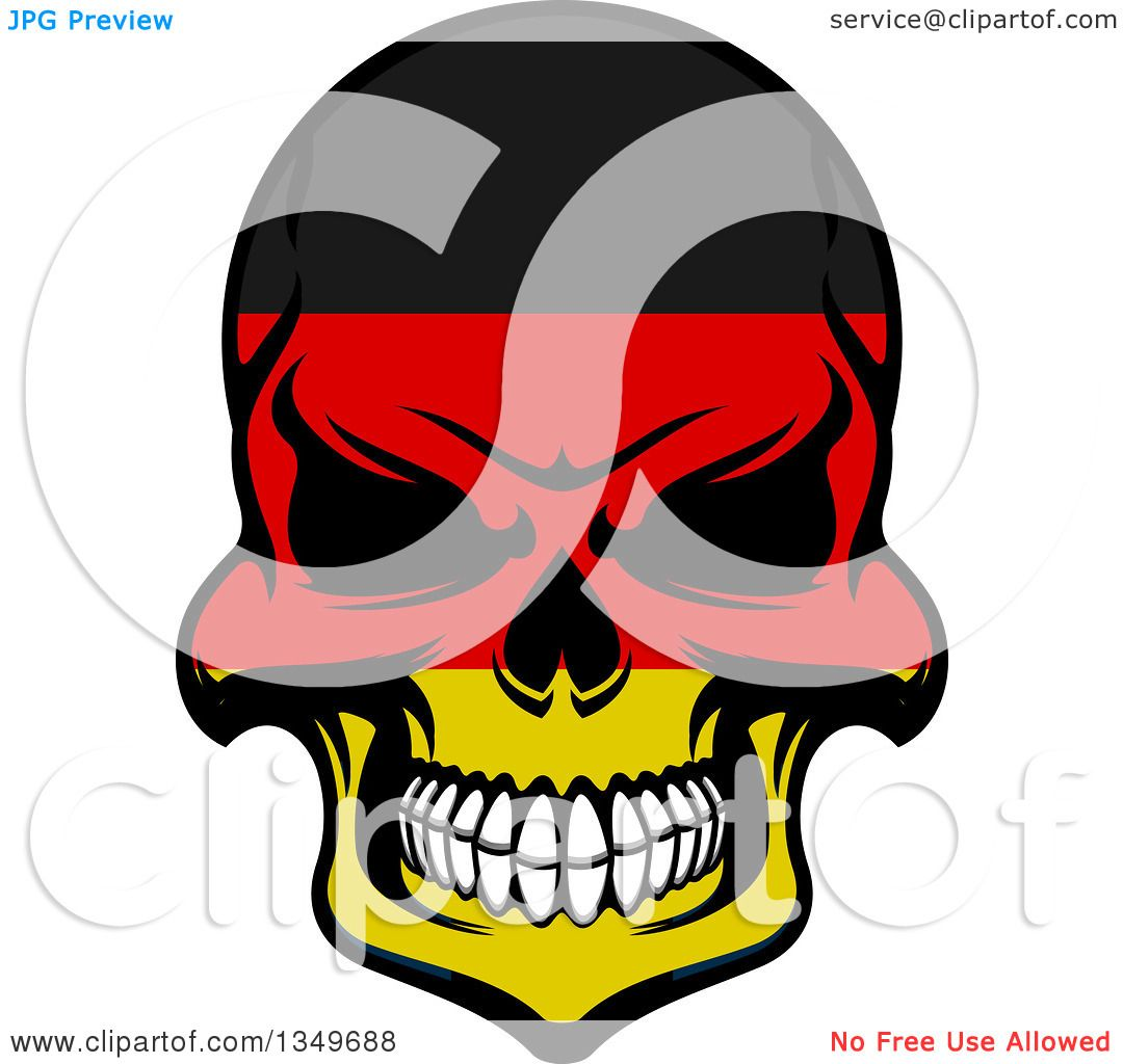 1080x1024 Clipart Of A Grinning Evil Skull In German Flag Colors