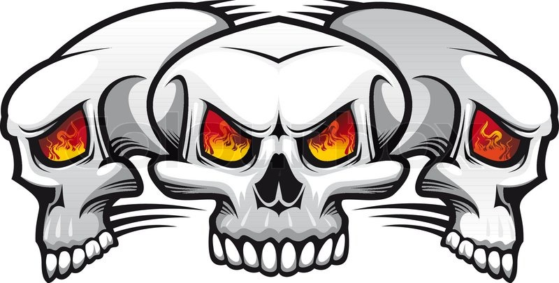 800x405 Danger Evil Skulls As A Tattoo Isolated On White Stock Vector