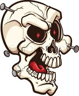 265x320 Evil Skull. Vector Clip Art Illustration With Simple Gradients