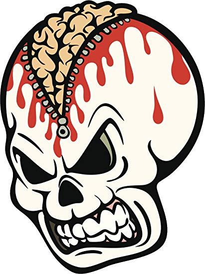 411x550 Evil Scary Dead Skull With Bleeding Brain Cartoon