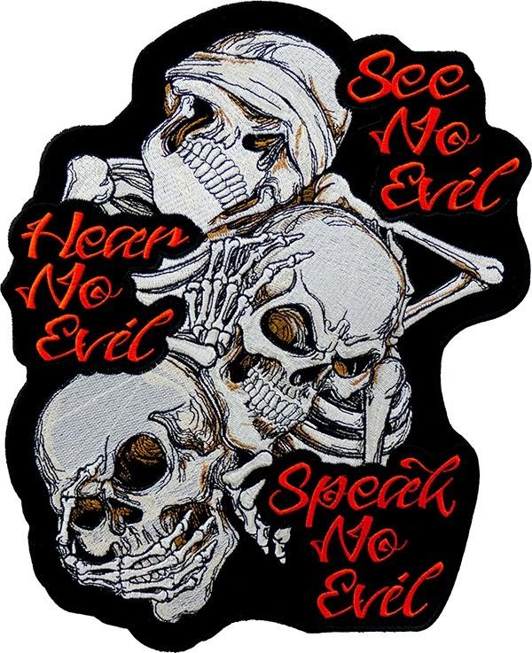 600x737 See No Evil Hear No Evil Speak No Evil Skulls Patch Large Back