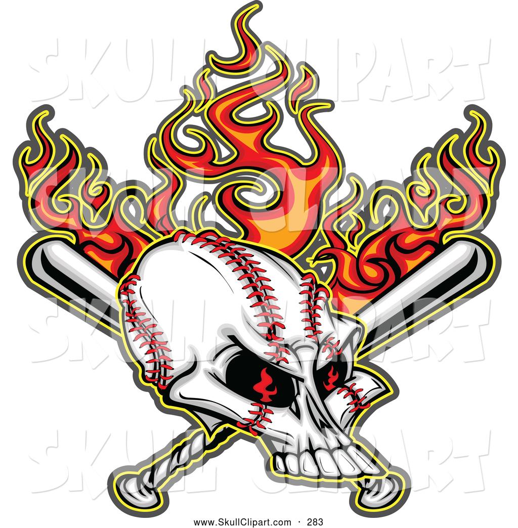 1024x1044 Vector Clip Art Of A Frightening Flaming Evil Baseball Skull